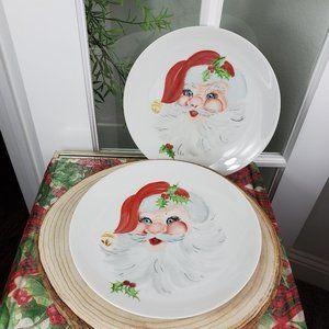 Set of 2 Porcelain Hand Painted Santa Plates